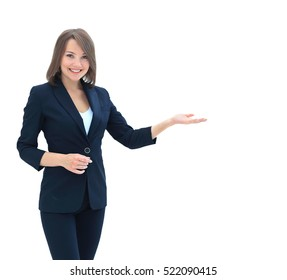 Smiling businesswoman showing open hand palm with copy space for