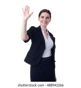 Smiling businesswoman standing over white isolated background with waving hand, business, education, office, greeting concept