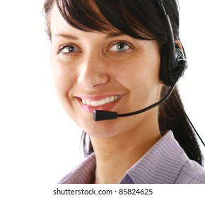 Smiling businesswoman using headset isolated