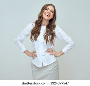 smiling businesswoman in white shirt. isolated studio portrait.