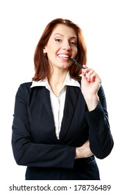 Smiling businesswoman woman with pen isolated on white background