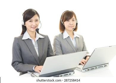 Smiling call center operators