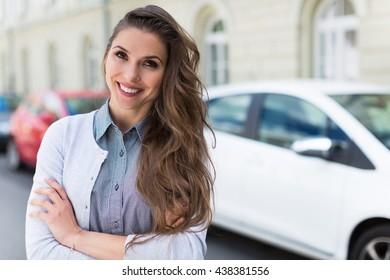 Smiling car owner
