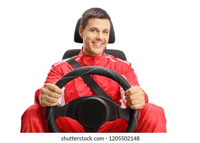 Smiling car racer holding a steering wheel isolated on white background