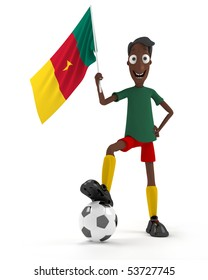 Smiling cartoon style soccer player with ball and Cameroun flag