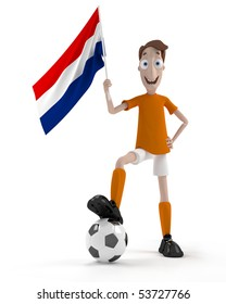 Smiling cartoon style soccer player with ball and Netherlands flag
