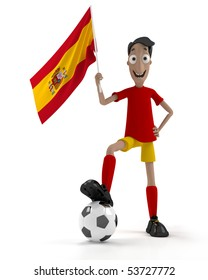 Smiling cartoon style soccer player with ball and Spain flag