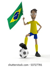 Smiling cartoon style soccer player with ball and brazil flag