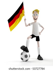 Smiling cartoon style soccer player with ball and germany flag