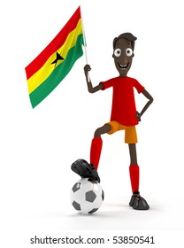 Smiling cartoon style soccer player with ball and Ghana flag