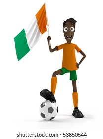 Smiling cartoon style soccer player with ball and Ivory Coast flag