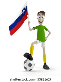 Smiling cartoon style soccer player with ball and Slovenia flag