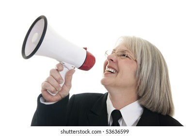 Smiling Caucasian business woman speaking into a bullhorn