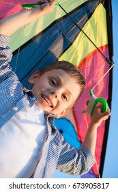 smiling caucasian little boy holding colofrul kite over his head and looking into the camera