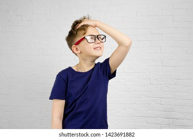 Smiling cheerful schoolboy in eyeglasses against white brick wall. Back to school concept.