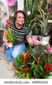 Smiling cheerful woman choosing a bromelia plant in the gardening department