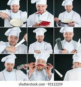 Smiling chef in uniform over dark background, collage
