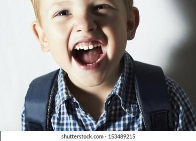 smiling child. funny little boy. close-up.laughter.joy.big emotion