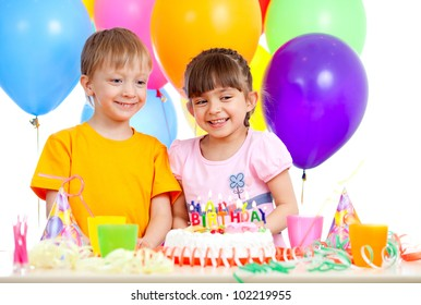 smiling children celebrating birthday party