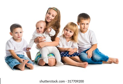 smiling children in white shirts isolated on white background