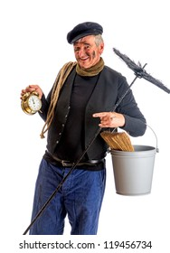 Smiling chimney sweep showing midnight New Year on his alarm clock