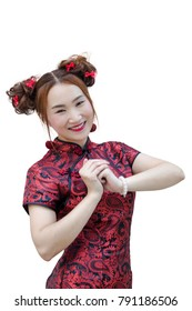 Smiling Chinese woman congratulation hand with dress traditional cheongsam at new year (isolate)