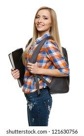 Smiling college university student woman standing with backpack holding folder isolated on white background.