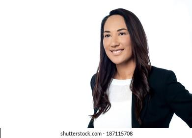 Smiling confident female business executive