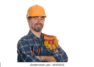 Smiling construction worker. Isolated on white.