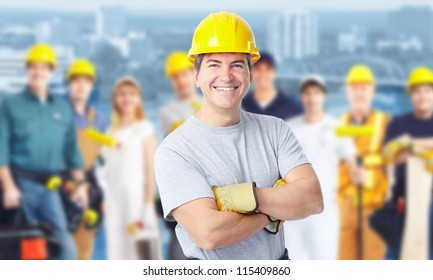 Smiling Construction worker man. Architecture background.