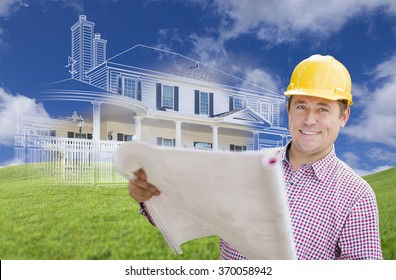 Smiling Contractor Holding Blueprints Over Custom Home Drawing and Photo Combination.