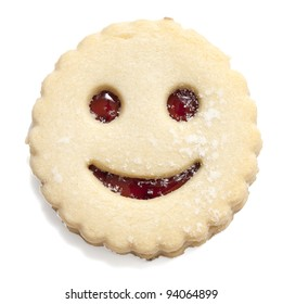 smiling cookie isolated on white