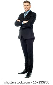 Smiling corporate male in business suit