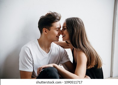 Smiling couple in love  Couple in love white background Happy Couple