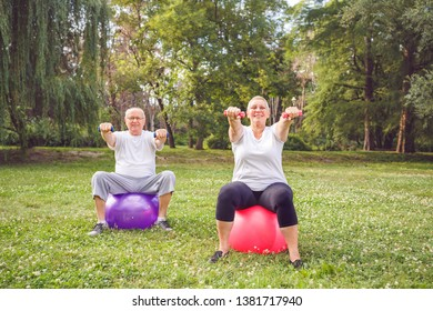Smiling couple man and woman doing fitness exercises on fitness ball in park