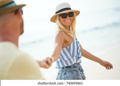 Smiling couple on honeymoon