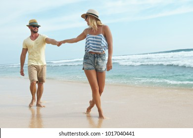 Smiling couple on a walk