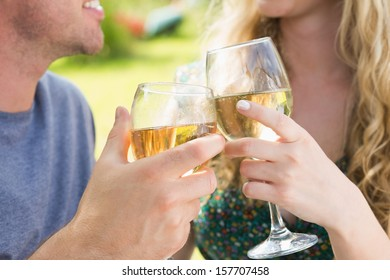 Smiling couple toasting with white wine outside on sunny day