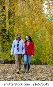 Smiling couple walking in park among autumn leaves