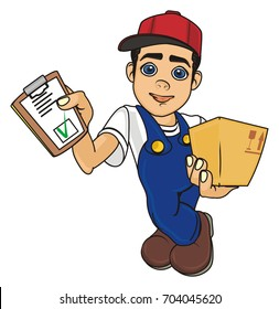 smiling courier boy and little box and blnk on his hands