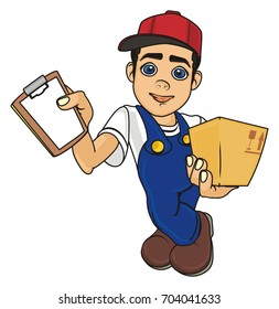 smiling courier boy stand and hold an empty blank and paper box