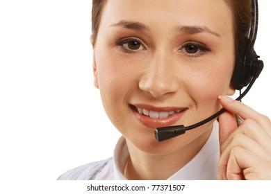 A smiling customer service girl, closeup