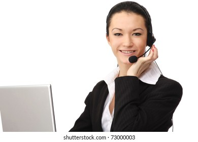 A smiling customer service operator