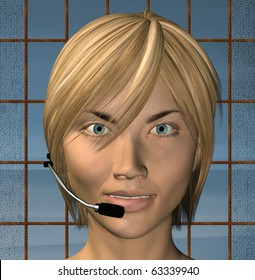 Smiling customer support female operator with headset. 3d illustration.