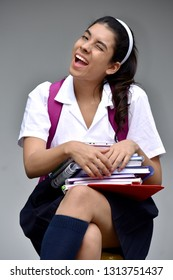 Smiling Cute Colombian Student Teenager School Girl Wearing School Uniform With Notebooks