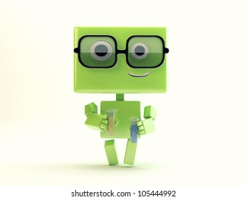 Smiling cute robotic toy - scientist with tubes/Robot chemist