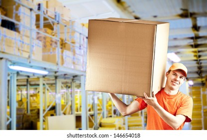 smiling delivery man in classic warehouse delivery gay with parcel in warehouse 3d background