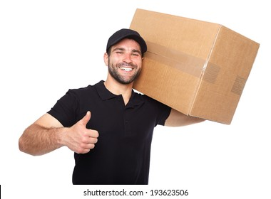 Smiling delivery man giving cardbox on white background