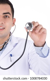 a smiling doctor appears in the half of the camera with his stethoscope isolated on a white background