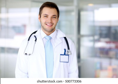 Smiling doctor man